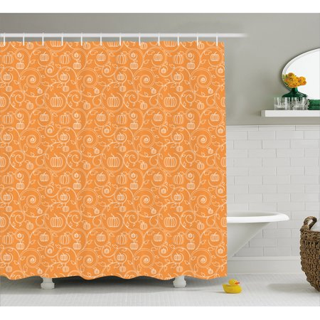 Harvest Shower Curtain Pattern With Pumpkin Leaves And Swirls On Orange Backdrop Halloween Inspired