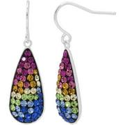 Crystal Fine Silver-Tone Teardrop Earrings