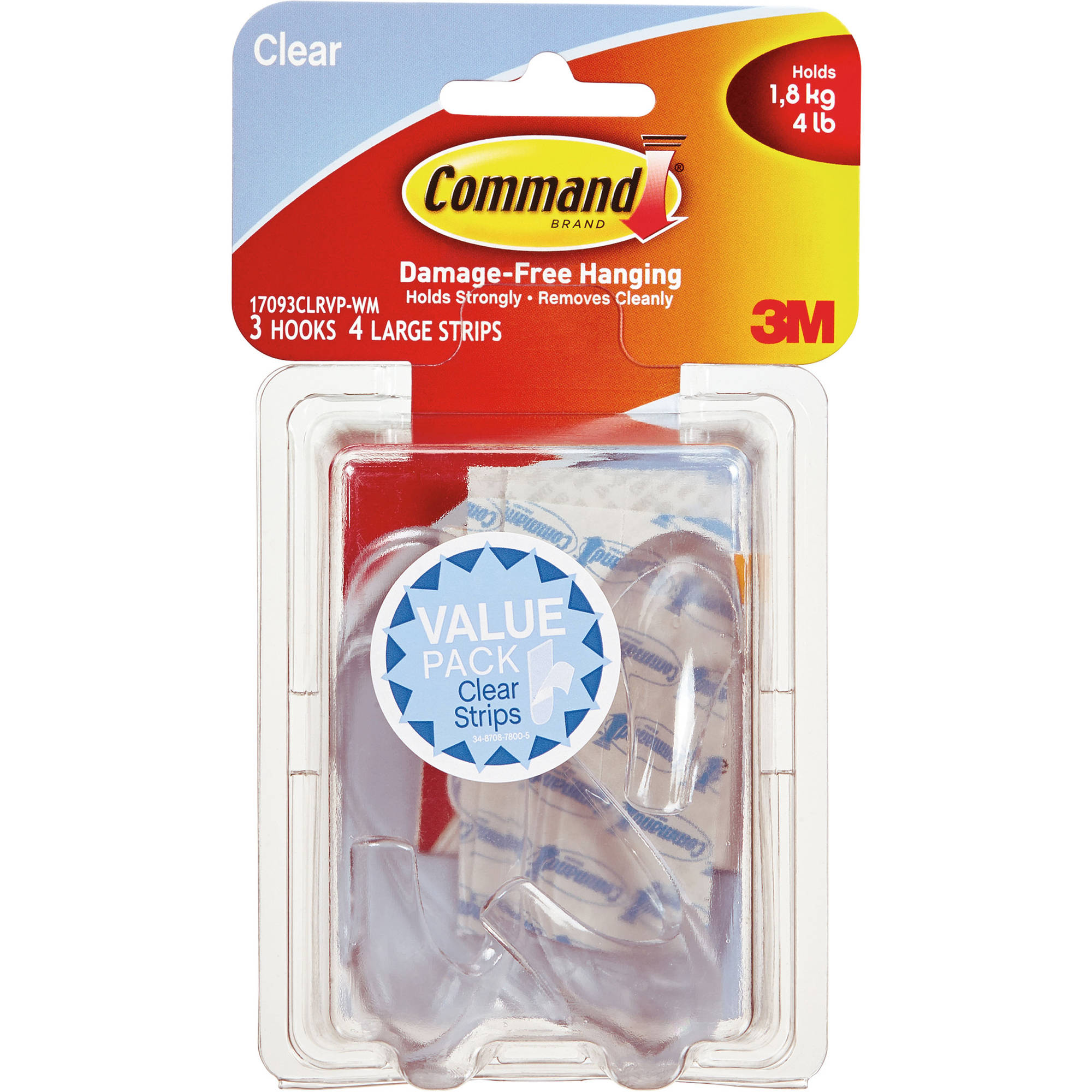 Command Hooks Value Pack, Clear, 17093CLRVP-WM