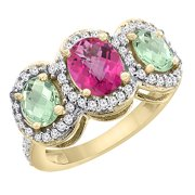 10K Yellow Gold Natural Pink Sapphire & Green Amethyst 3-Stone Ring Oval Diamond Accent, size 8.5