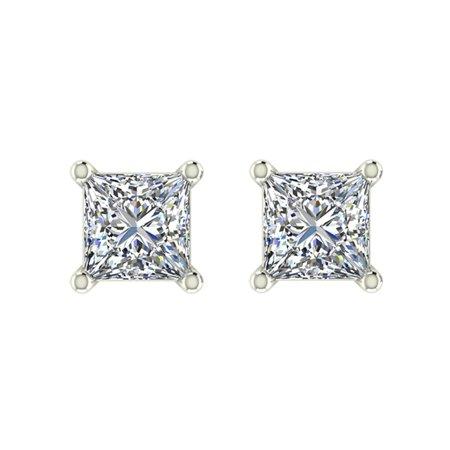 1/5 ct tw I I1 Natural Princess Cut Diamond Stud Earrings 14K White Gold Screw (Kc Designs Diamond Stud)