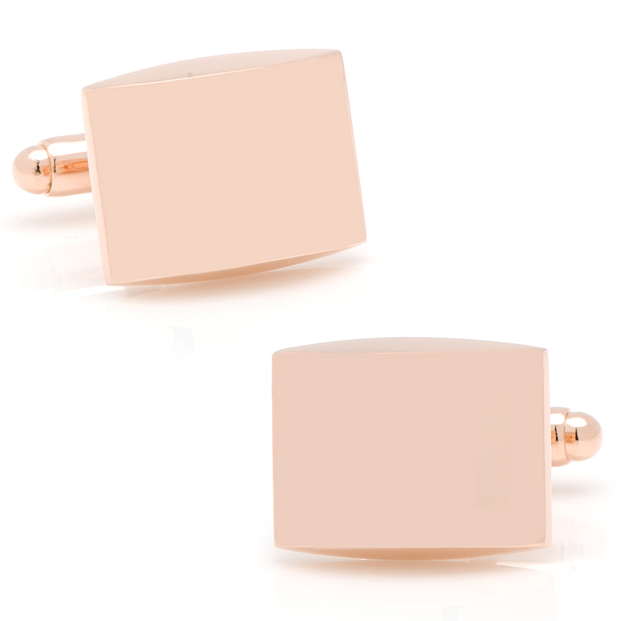 Ox and Bull Stainless Steel Curved Rose Gold-Tone Engravable Fashion Cufflinks
