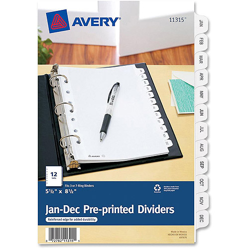 Avery Monthly Preprinted Tab Dividers