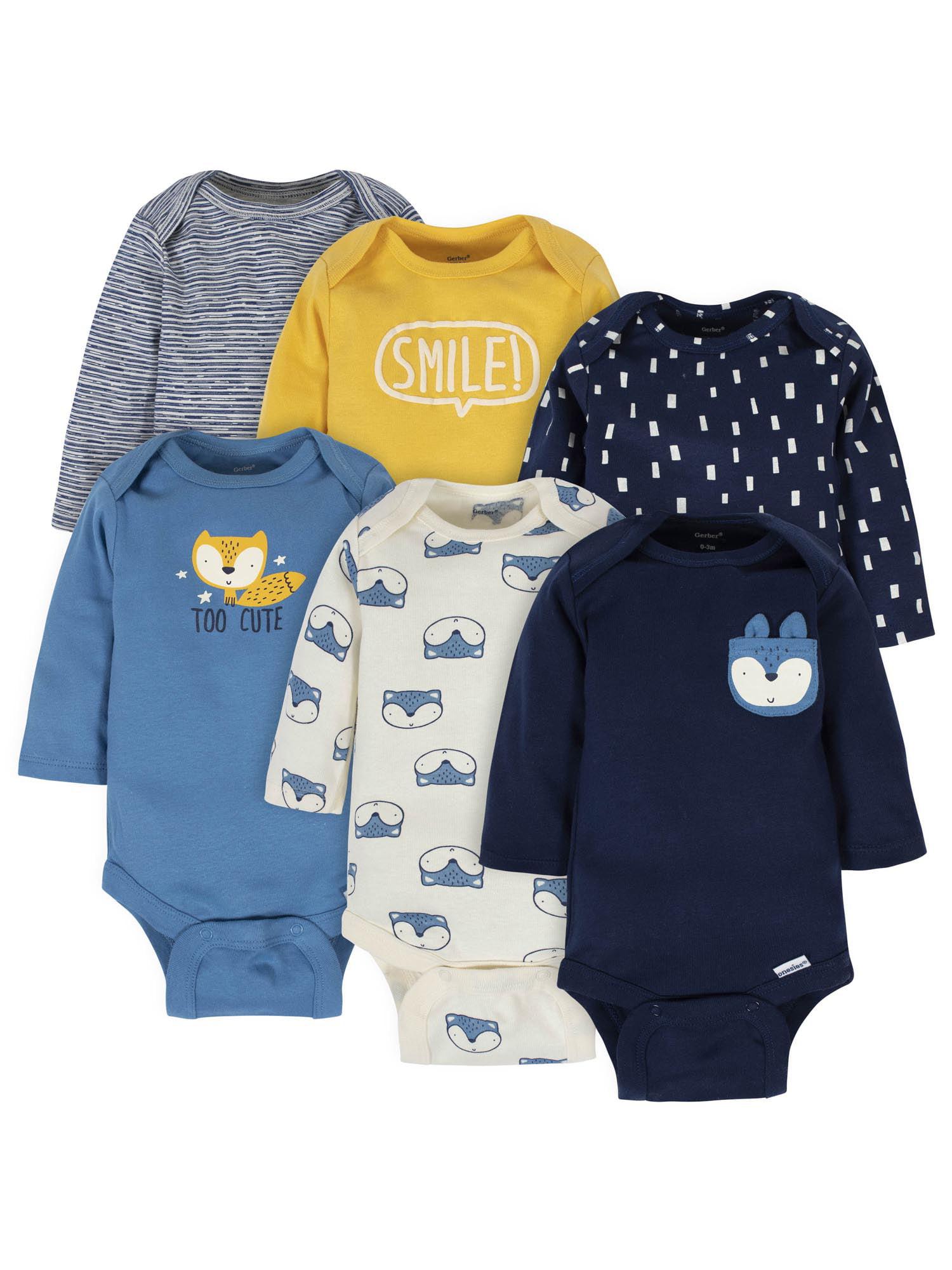 Gerber Unisex-Baby 6-Pack Long-Sleeve Onesies Bodysuit 6-Pack Long-Sleeve Onesies Bodysuit