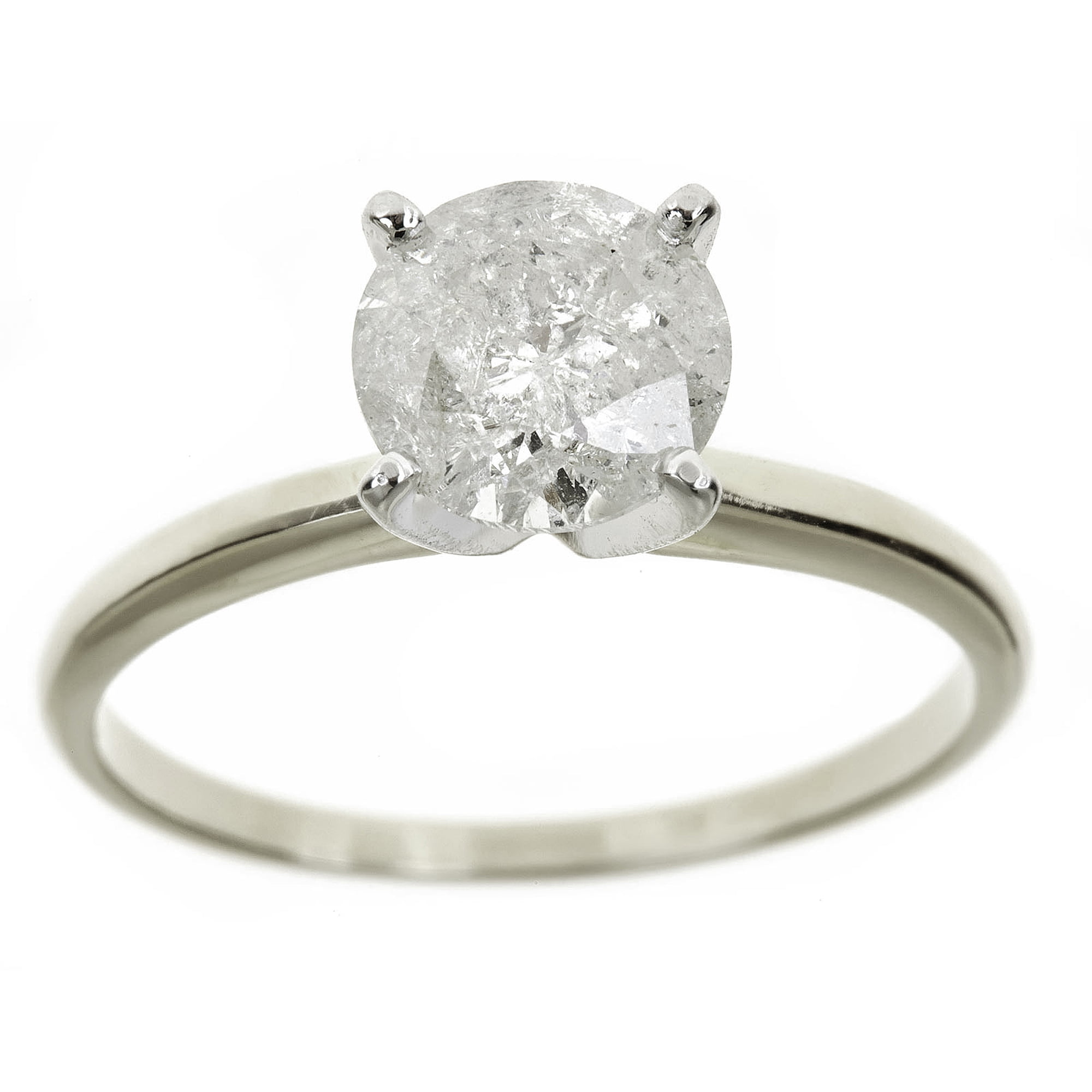 13 Carat Round Diamond Solitaire Ring in 14K White Gold