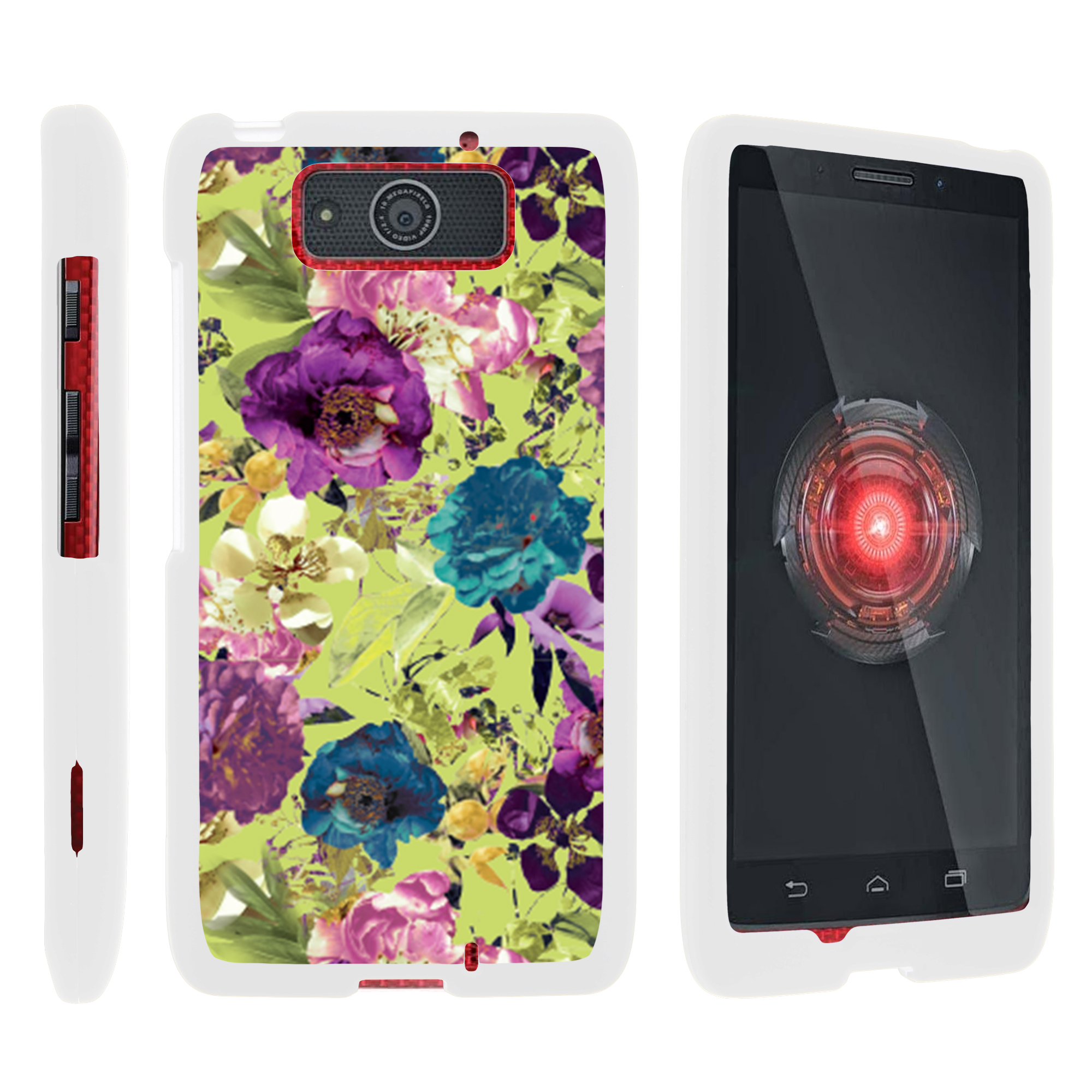 Motorola Droid Ultra XT1080 | Droid Maxx XT1080-M, [SNAP SHELL][White] Hard White Plastic Case with Non Slip Matte Coating with Custom Designs - Yellow Purple Flowers