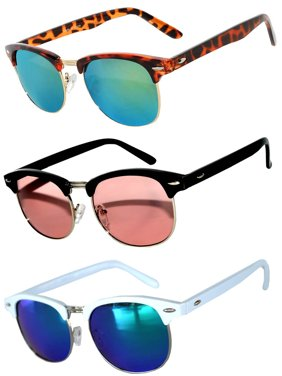 cff91ea66b2 Product Image Half Frame Black Leopard White Gold Silver Sunglasses Pink  Blue Green GRD Mirror Lens Fashion Retro
