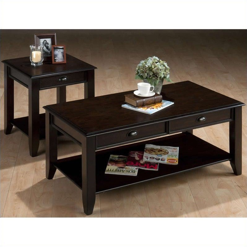 Jofran 2 Piece Occasional Table Set in Bartley Oak by Jofran