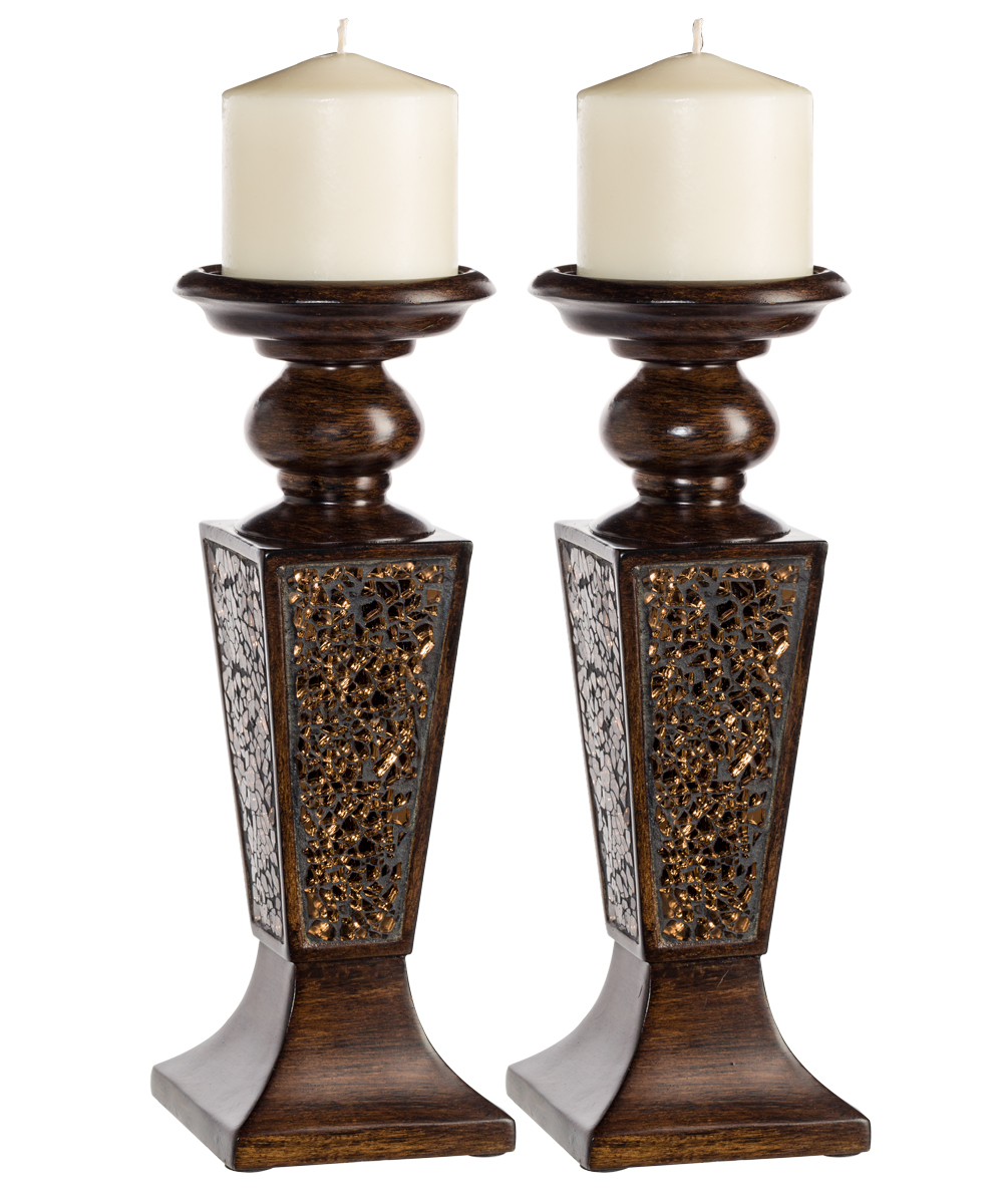 Schonwerk Pillar Candle Holder Set Of 2 Crackled Mosaic Design Functional Table Decorations Centerpieces For Dining Living Room Best Wedding Gift Walnut Walmart Com Walmart Com