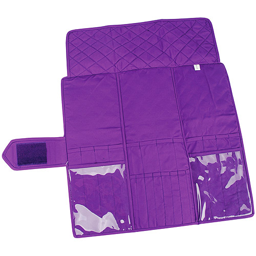 "Yazzii Quilted Cotton Knitting Needle Case 5.5""X15.5"", Purple"