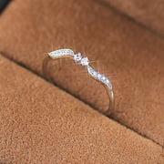 Women 925 Sterling Silver Willow Leaf Binary Star Diamonds Ring