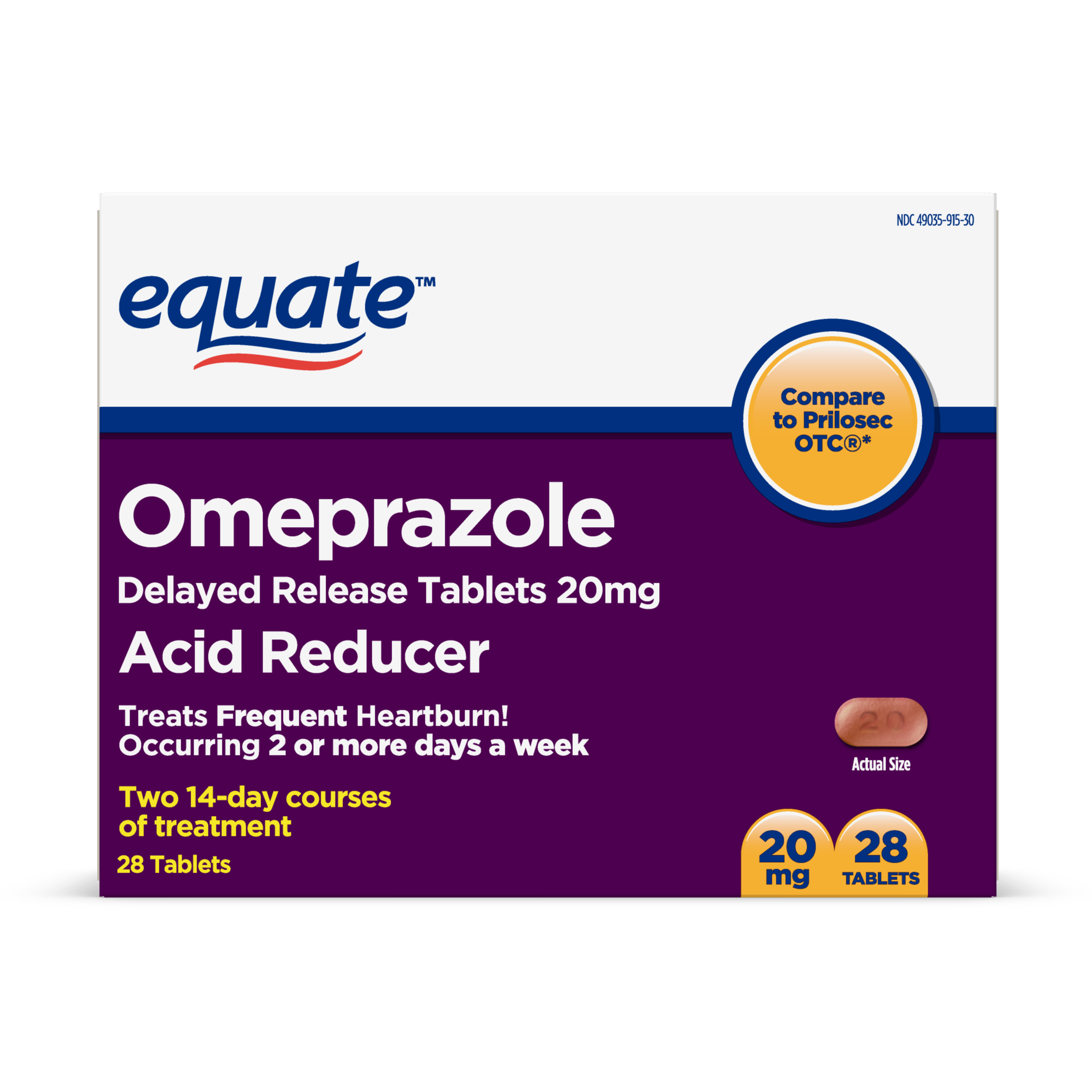 Equate Acid Reducer Omeprazole Delayed Release Tablets, 20mg, 28 Ct