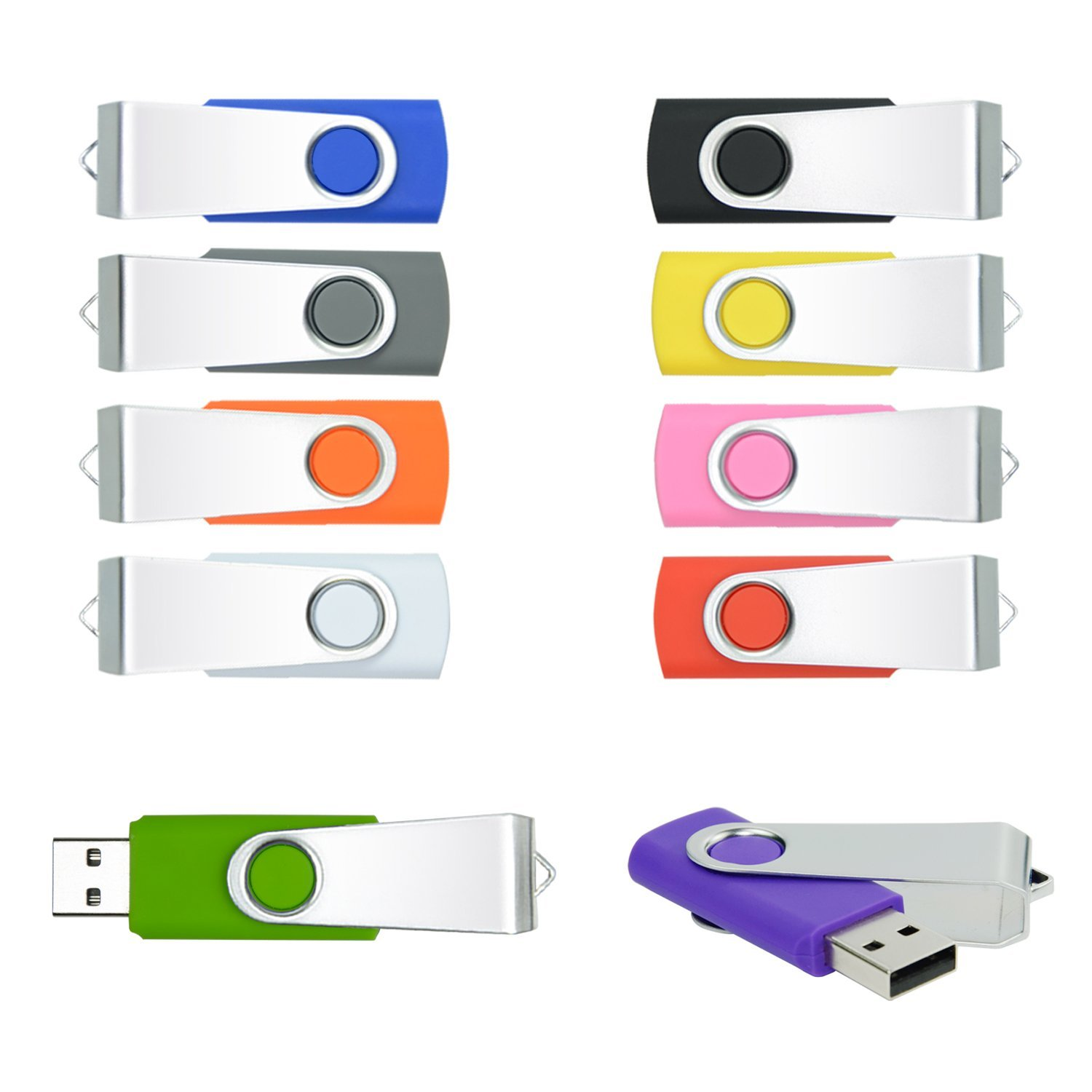 PORTWORLD 16GB USB 2.0 Flash Drive with Lanyards Multicolor (10 Pack)