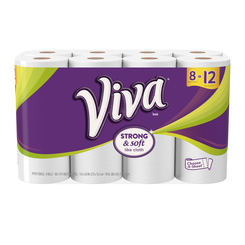 Viva Paper Towels, Choose-A-Sheet, 8 Giant Rolls - Walmart.com