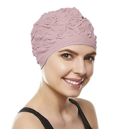 9e16560b528 Beemo Swim Bathing Caps for Women/Girls Retro Style Latex with Embossed  Flower Pattern Ornament Swimming Hat Long & Short Hair - Lilac - Walmart.com
