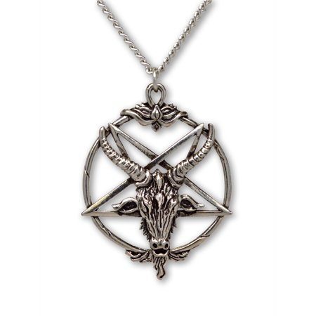 (Baphomet Inverted Pentacle Silver Finish Pewter Goat Head Pendant Necklace by Real Metal Jewelry)