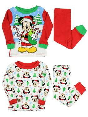 a882f23492 Product Image AME Disney Mickey Mouse Little Boys Santa Mickey 4-Piece  Cotton Pajama Set
