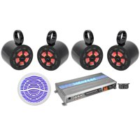 "(4) 6.5"" Marine Wakeboard Speakers w/LED's+12"" Subwoofer+Memphis 5-ch Amplifier"