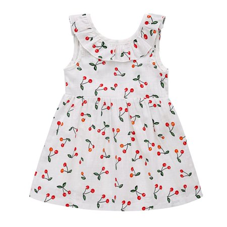 - Toddler Baby Girl Fall Dress Cherry Printed Skirt Small Fly Sleeve Outfits Clothes
