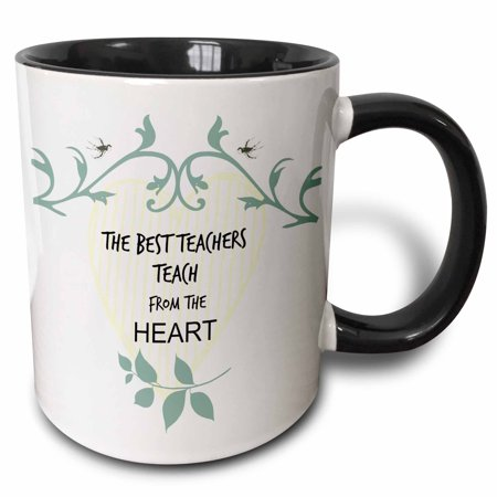 3dRose Teacher the best teachers teach from the heart. Popular saying - Two Tone Black Mug, 11-ounce - Halloween Sayings For Teacher Gifts