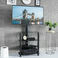 Rfiver Floor Corner TV Stand with Swivel Mount 4-Tiers Media Shelf Height Adjustable Bracket for 32 37 40 42 45 47 50 55 inch TVs