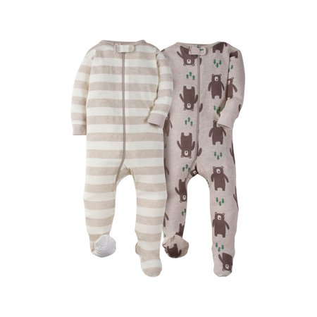 Gerber Footed Tight-fit Unionsuit Pajamas, 2pk (Baby Boys) - Monkey Pajamas For Toddlers