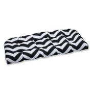 Pillow Perfect Outdoor/ Indoor Chevron Black/White Wicker Loveseat Cushion