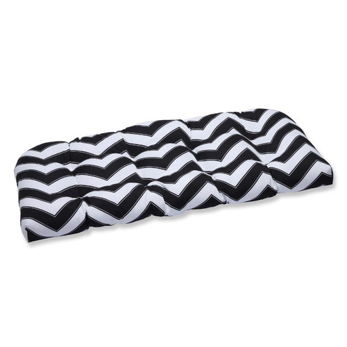Pillow Perfect Outdoor/ Indoor Chevron Black/White Wicker Loveseat Cushion