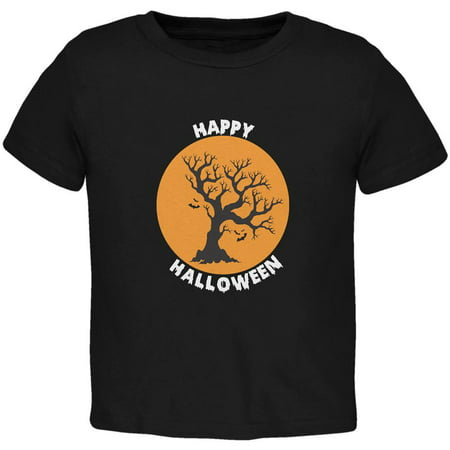 Happy Halloween Tree Silhouette Black Toddler T-Shirt (Happy Halloween Divertido)