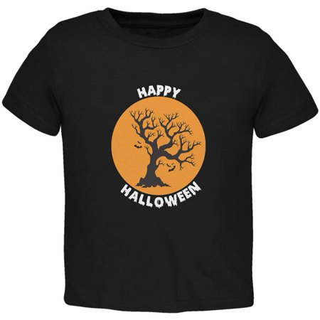 Happy Halloween Tree Silhouette Black Toddler T-Shirt