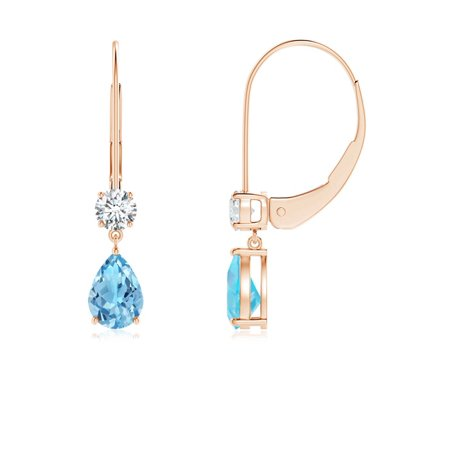 November Birthstone Earrings Pear Swiss Blue Topaz Leverback With Diamond In 14k Rose Gold