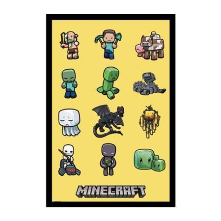 Framed Minecraft Characters 34X22 5 Video Game Gamer Art Print Poster