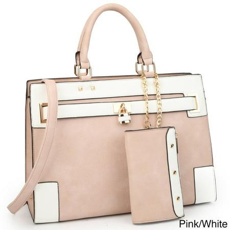 Dasein  Faux Leather Padlock Satchel Handbag with Shoulder Strap ()
