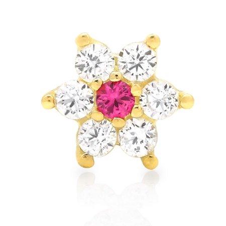 14K Yellow Gold 0.30Ct Simulated Diamond & Ruby Flower Nose Bone Stud Ring