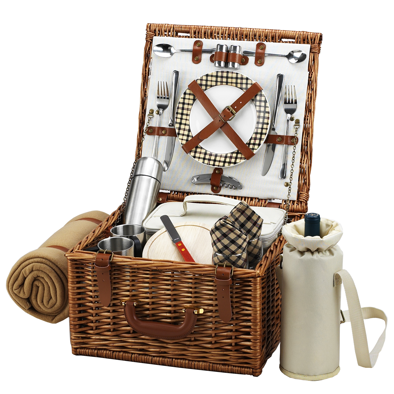 Picnic at Ascot Cheshire Basket for 2 w/coffee set & blanket -London (702BC-L)