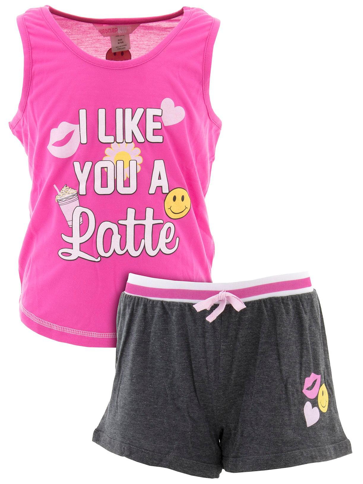 katnap kids big girls' i like you a latte pink short pajamas
