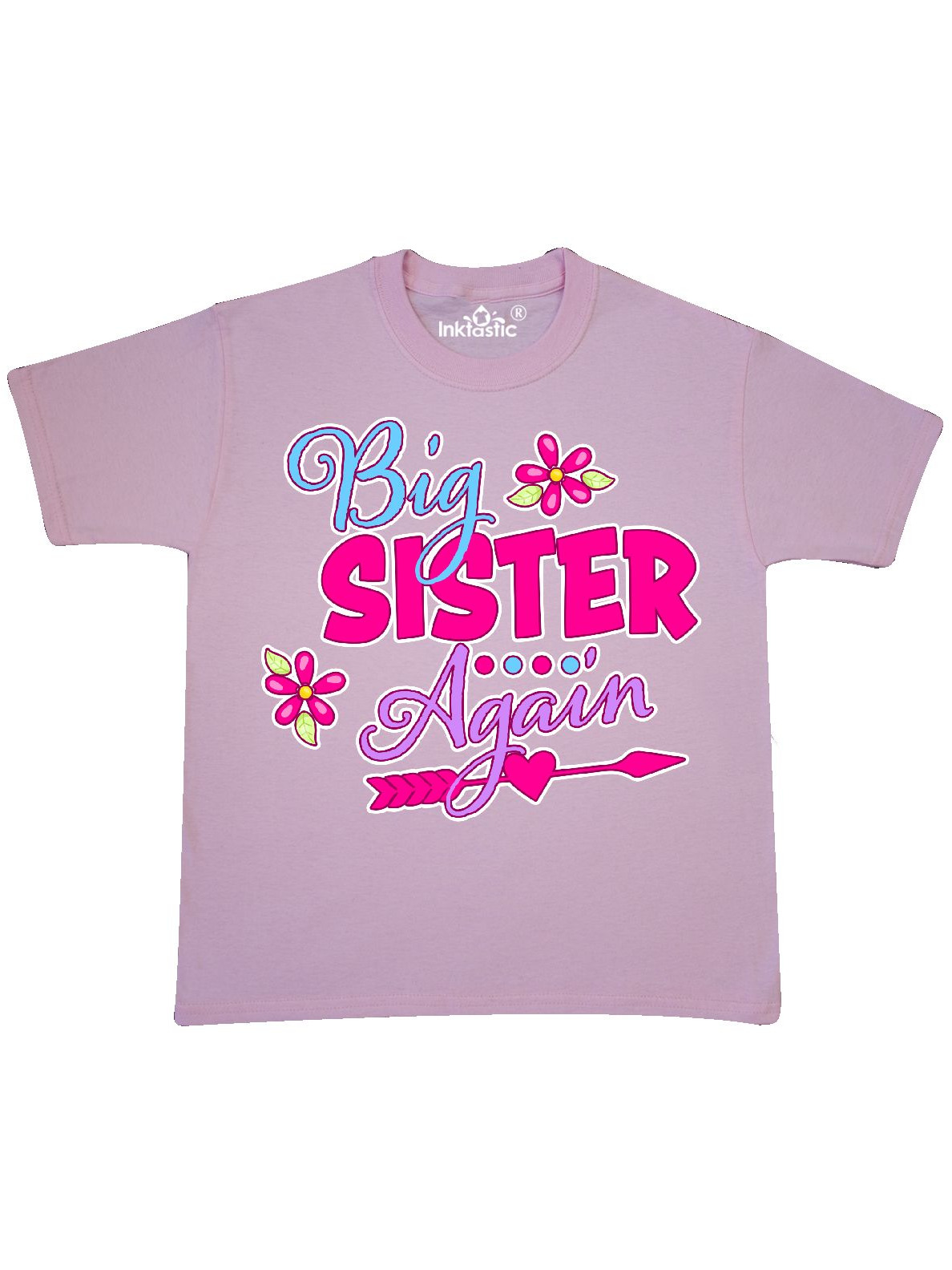 Big Sister Again with Flowers and Arrow Youth T-Shirt