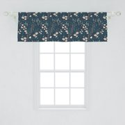 Floral Window Valance, Botanical Concept Illustration of Flowers and Herbs, Curtain Valance for Kitchen Bedroom Decor with Rod Pocket, by Ambesonne