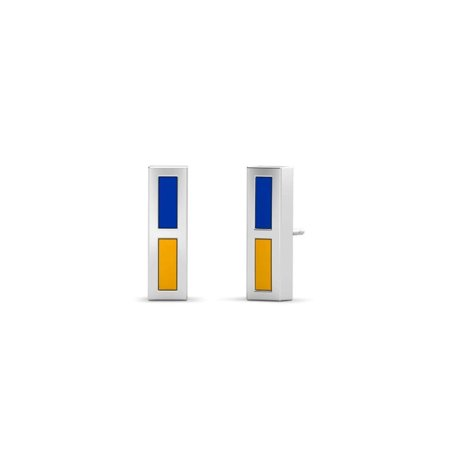 U of California Santa Barbara - Enamel Stud Earrings in Blue and Yellow