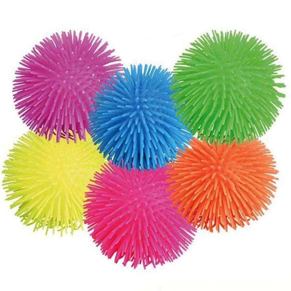 Puffer Balls - 6 Pack Assorted Colors, Blue, Green, Orange, Yellow, Pink And Purple, For Kids Sensory Stress Relief, Therapy Toy Favor, Goody Bag Filler, - By Kidsco