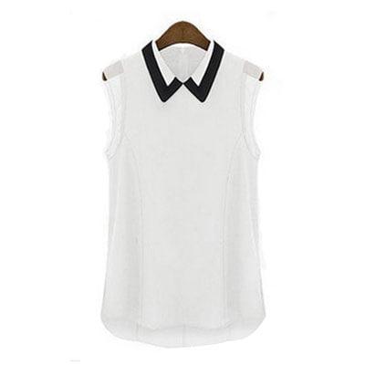 Tasharina Women's Sleeveless Irregular Hem Chic Chiffon Tank Top Blouse Shirt White (Size S / 4)