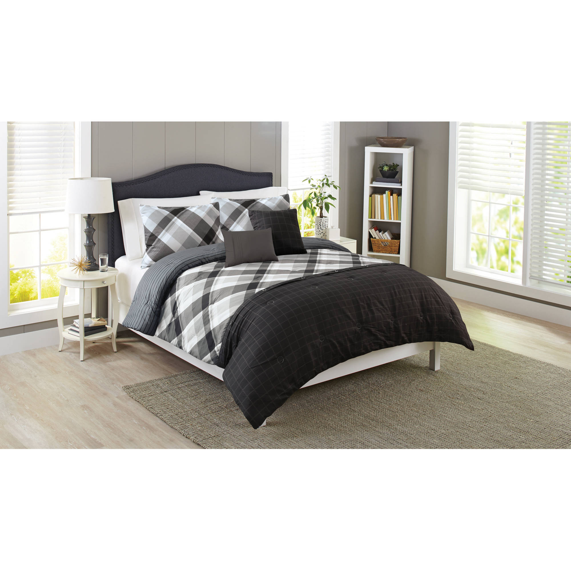 Better Homes & Gardens Full or Queen Black Plaid Comforter Set, 5 Piece
