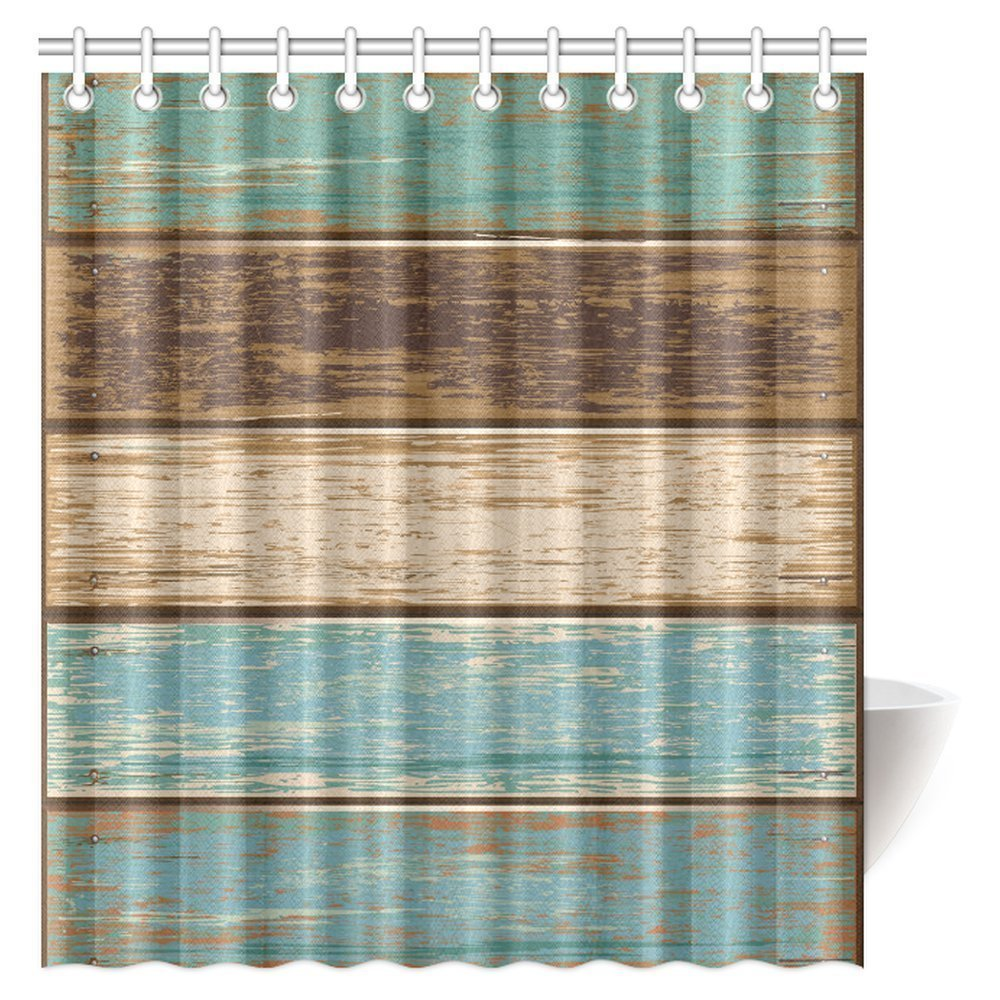 MYPOP Antique Old Planks American Style Western Rustic Wooden Fabric Bathroom Shower Curtain 66 X 72 Inches Long