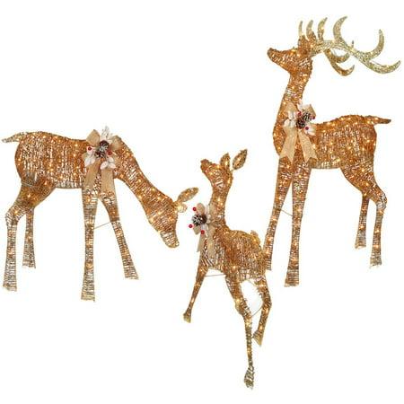 Set Of 3 Light Up PVC Vine Deer Family 48 Buck 36