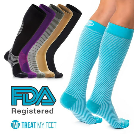 Compression Socks for Men & Women - Graduated Knee-High compression Stockings relieve calf, leg, & foot pain FDA Registered, Nurse and Runner recommended - S, M, L, &