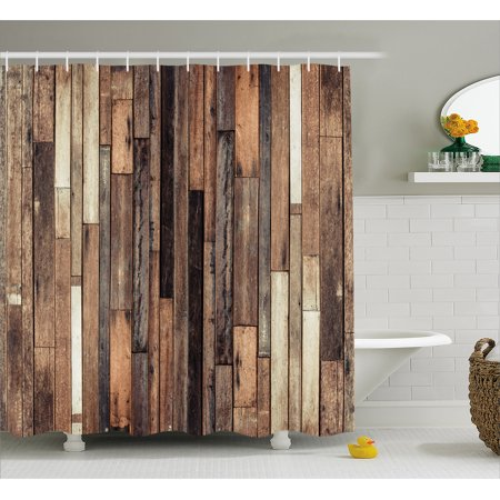 - Wooden Shower Curtain, Brown Old Hardwood Floor Plank Grunge Lodge Garage Loft Natural Rural Graphic Artsy Print, Fabric Bathroom Set with Hooks, Brown, by Ambesonne