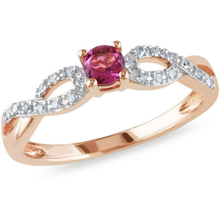 1/5 Carat T.G.W. Pink Tourmaline and Diamond Accent Pink Rhodium over Sterling Silver Cross-Over Ring