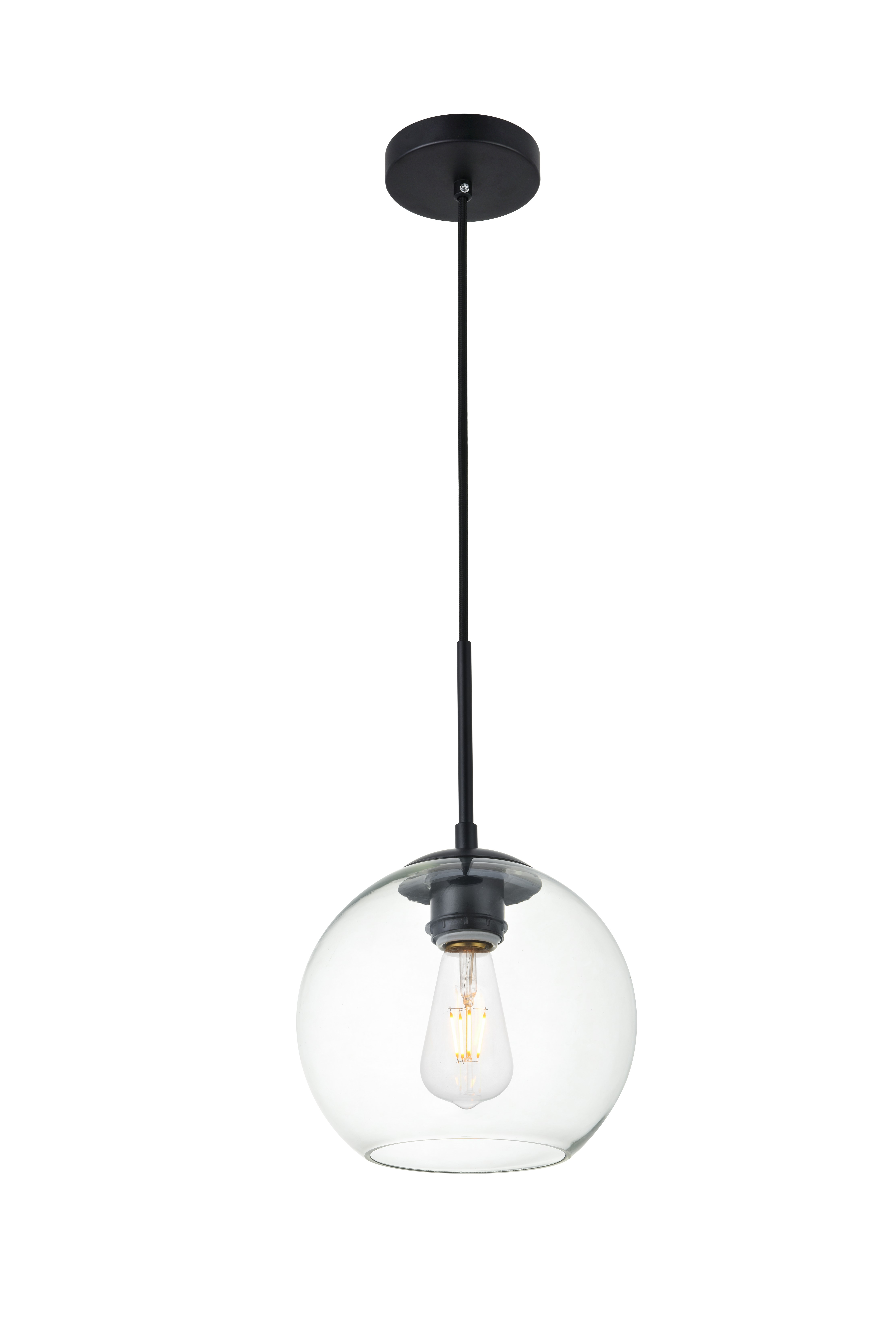 Living district ld2206bk baxter 1 light pendant ceiling light with clear glass black