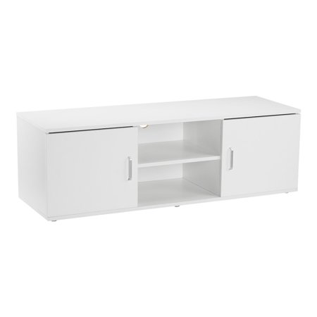 LANGRIA Mid-Century Modern TV Stand Entertainment Media Console Center with 2 Doors, 2-Tier Open Shelf and Ample Flat Surface,Contemporary Living Room Widescreen Storage System (Oxmoor Center Stores)