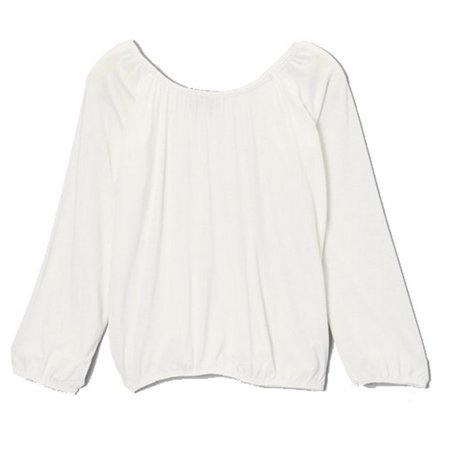 Lori&Jane Girls Off-White Solid Color Gathered Edges Long Sleeved
